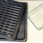 backblech mit dampfgaraufsatz und glas auflaufform