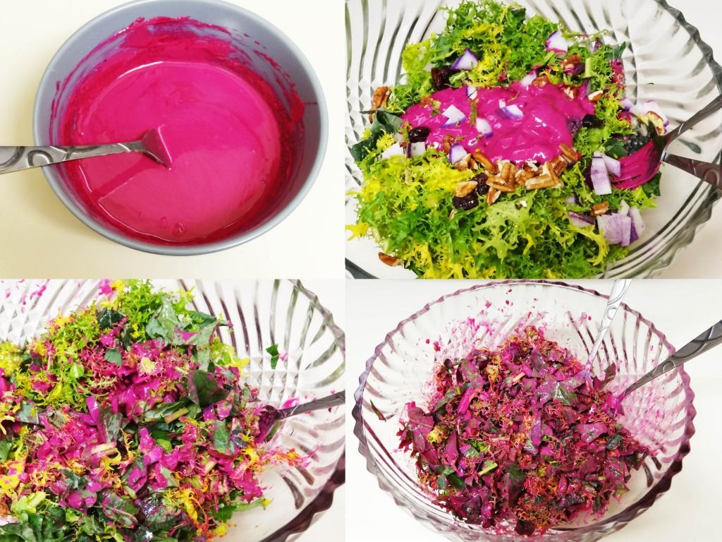 Salat mit pinkem Dressing aus Tahini und Rote Beete Saft