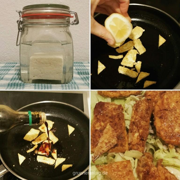 tofu im glas kaufen, in pfanne mit oel anbraten, mit zitrone und sojasauce anbloeschen