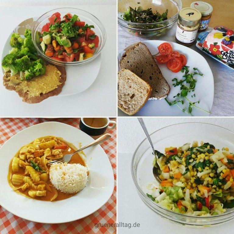 veganes Abendessen_Tomatensalat mit Vollkornbrot und Brokkoli, Brot mit Kichererbsen- und Tomatenaufstrich und Gartensalat, Masaman Curry beim Thai, Bunter Salat mit gelben Erbsen und Kürbiskernen