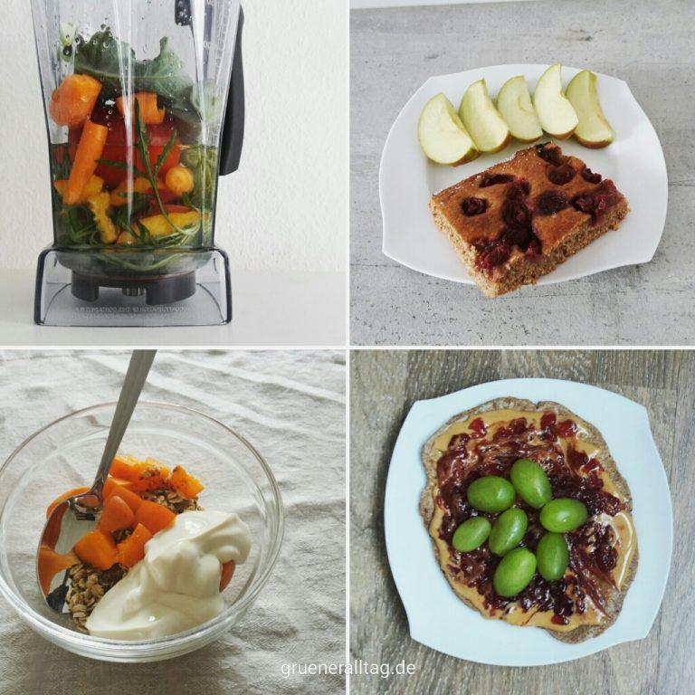 vegane Fruehstuecksideen_bunter Gemuesesmoothie, Vollkorn-Kirschkuchen mit Apfelstuecken, Haferflocken mit Nüssen, Aprikose und Sojajoghurt, Vollkornfladen mit Erdnussbutter, Marmelade und Trauben