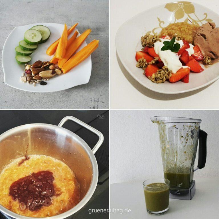 Vegane Snackideen_Gemuesesticks mit Nuessen oder Dip, Schokoeiscreme mit Erdbeeren, kandierten Sonnenblumenkernen, Kompott und Kokossahne, Rhabarberkompott mit Erdbeermarmelade, gruener Smoothie