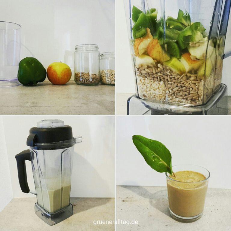 smoothie mit viel eisen aus apfel, paprika, sonnenblumenkernen, haferflocken, wasser, optional sauerampfer