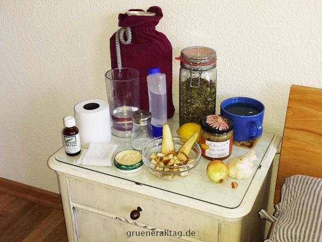 natürliche Genesungsutensilien für eine Erkältung ohne Medikamente