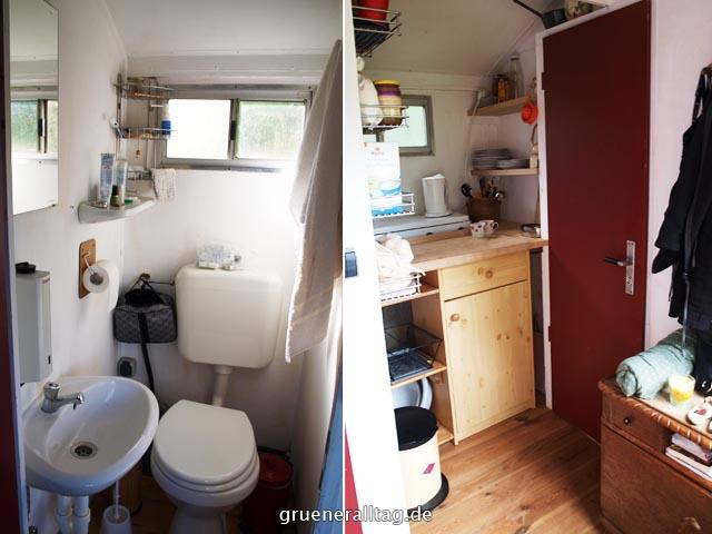 Urlaub im Bauwagen Minibad und Kueche grueneralltag