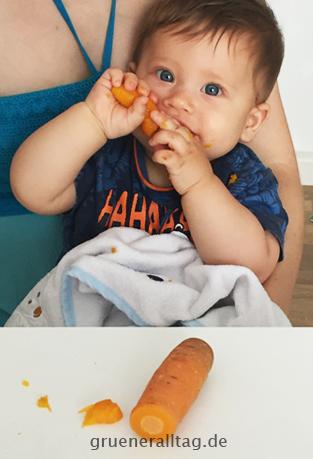 veganes Baby isst gekochte Karotte