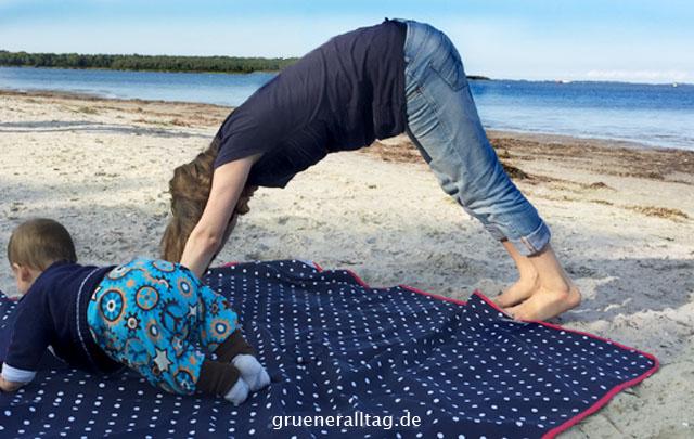 Sport zählt zu meinen Prioritäten, so auch im Urlaub mit Baby am Strand