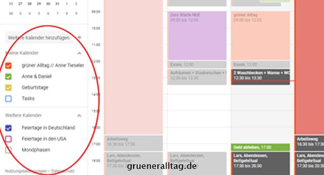 Kalender Planen Ausschnitt mehrere Kalender